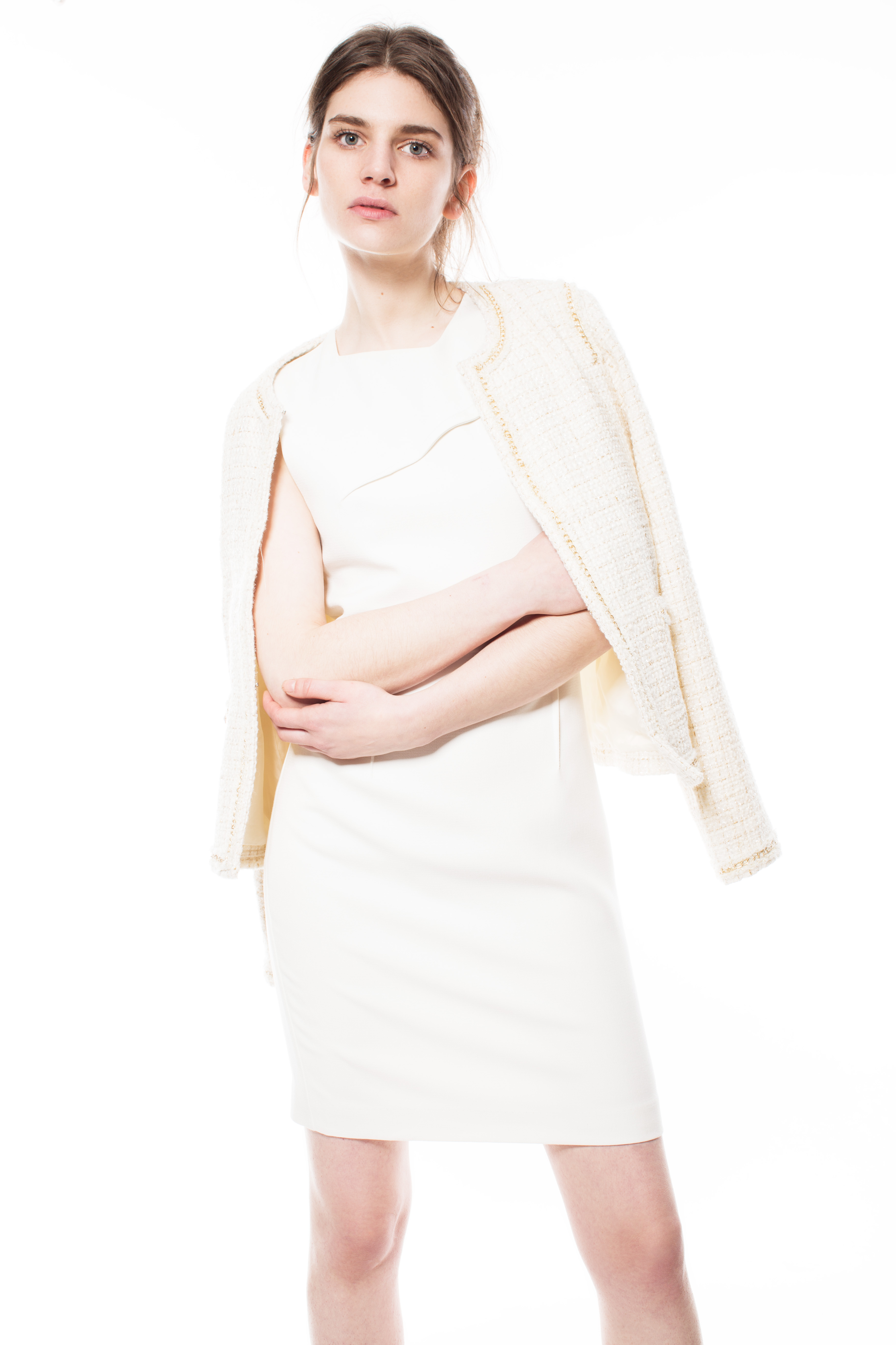 Jackie O Style Blazer with Tailored Dress with Back Detail